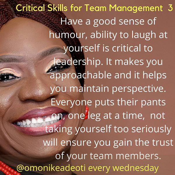 Ability to laugh at yourself is critical to leadership