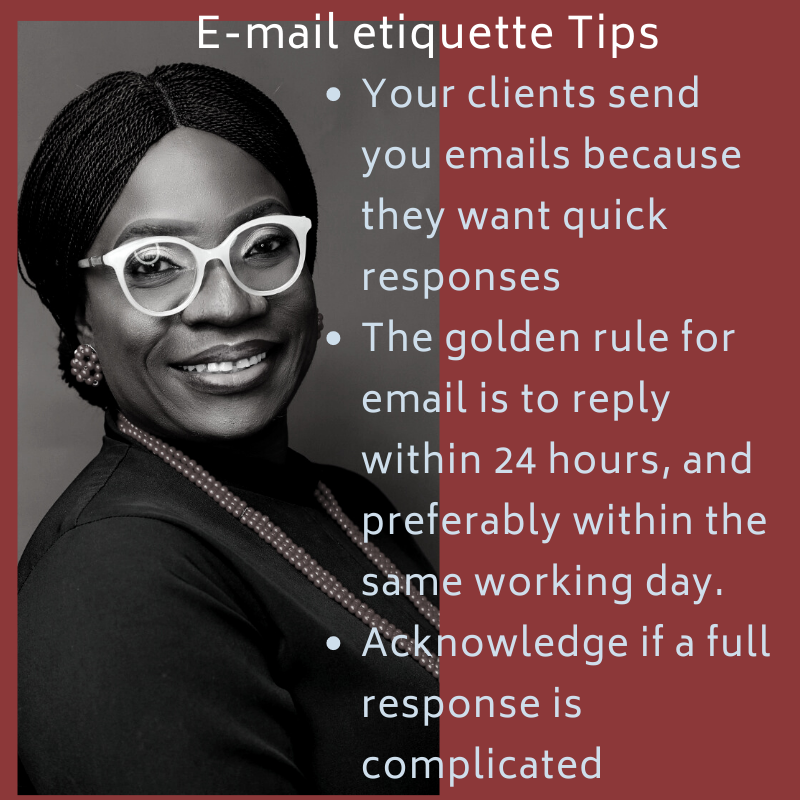 The golden rule for email is to reply within 24 hours